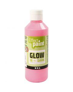 Glow in the Dark Paint, fluorescent light red, 250 ml/ 1 bottle