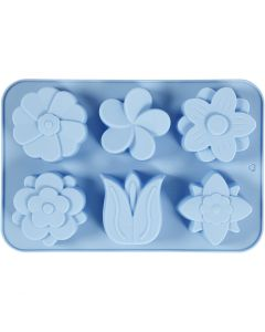 Silicone mould, flowers, H: 2,6 cm, L: 30 cm, W: 21 cm, hole size 60x75 mm, 75 ml, 1 pc