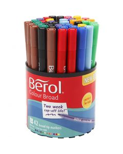Berol Colourfine, D: 10 mm, line 0,3-0,7 mm, assorted colours, 42 pc/ 1 tub