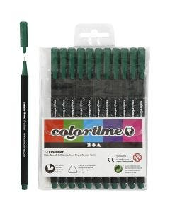 Colortime Fineliner, line 0,6-0,7 mm, dark green, 12 pc/ 1 pack