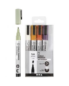 Chalk markers, line 1,2-3 mm, mute colours, 5 pc/ 1 pack