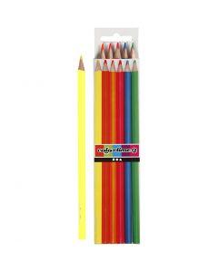 Colortime colouring pencils, L: 17,45 cm, lead 3 mm, neon colours, 6 pc/ 1 pack