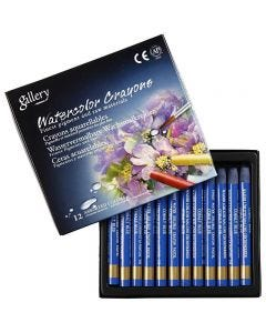 Watercolor Crayons, L: 9,3 cm, cobalt blue (338), 12 pc/ 1 pack