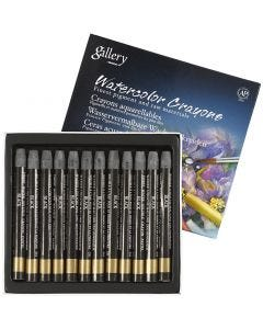 Watercolor Crayons, L: 9,3 cm, black (331), 12 pc/ 1 pack