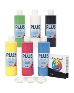 Plus Color Craft Paint, primary colours, 6x250 ml/ 1 pack