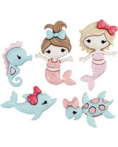 Novelty Buttons, mermaid kisses, H: 22-35 mm, W: 19-21 mm, 5 pc/ 1 pack
