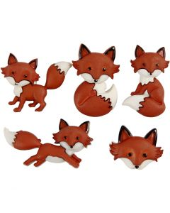 Novelty Buttons, outfoxed, H: 16-27 mm, W: 16-34 mm, 5 pc/ 1 pack
