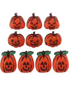 Novelty Buttons, jack o'lanterns, H: 14-20 mm, W: 13-14 mm, 10 pc/ 1 pack