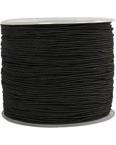 Elastic Beading Cord, thickness 1 mm, black, 250 m/ 1 roll