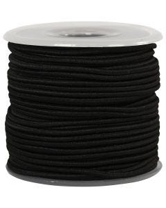 Elastic Beading Cord, thickness 2 mm, black, 25 m/ 1 roll