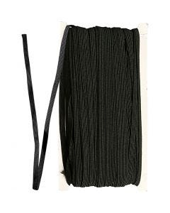 Elastic Beading Cord, W: 6 mm, black, 50 m/ 1 roll