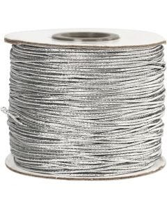 Elastic Beading Cord, thickness 1 mm, silver, 100 m/ 1 roll