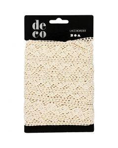 Crochet Lace Border , W: 30 mm, off-white, 10 m/ 1 roll