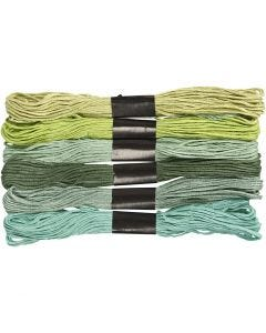 Embroidery Floss, thickness 1 mm, green glitter, 6 bundle/ 1 pack