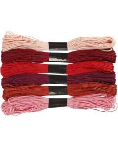 Embroidery Floss, thickness 1 mm, red harmony, 6 bundle/ 1 pack