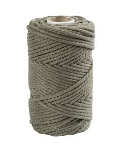 Macramé cord, L: 55 m, D: 4 mm, moss green, 330 g/ 1 roll