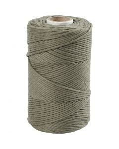Macramé cord, L: 198 m, D: 2 mm, moss green, 330 g/ 1 roll