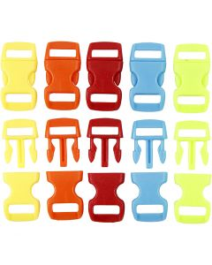 Click Clasp, L: 29 mm, W: 15 mm, hole size 3x11 mm, assorted colours, 100 pc/ 1 pack