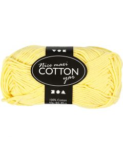 Cotton Yarn, no. 8/8, L: 80-85 m, size maxi , yellow, 50 g/ 1 ball