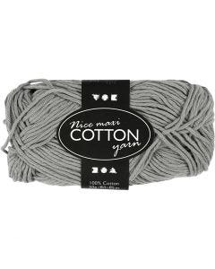 Cotton Yarn, no. 8/8, L: 80-85 m, size maxi , grey, 50 g/ 1 ball