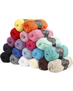 Cotton Yarn, no. 8/8, L: 80-85 m, size maxi , 20x50 g/ 1 pack