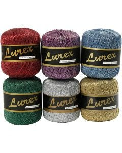 Lurex yarn, L: 160 m, assorted colours, 6x25 g/ 1 pack