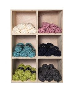 Chunky yarn of acrylic, L: 17 m, size manga , assorted colours, 6x5 ball/ 1 pack