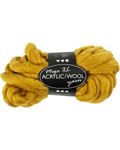 Chunky yarn of acrylic/wool, L: 15 m, size mega , dark yellow, 300 g/ 1 ball