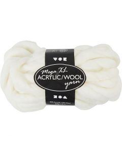 Chunky yarn of acrylic/wool, L: 15 m, size mega , off-white, 300 g/ 1 ball