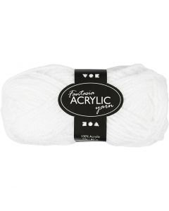 Fantasia Acrylic Yarn, L: 80 m, white, 50 g/ 1 ball