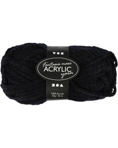 Fantasia Acrylic Yarn, L: 35 m, size maxi , black, 50 g/ 1 ball