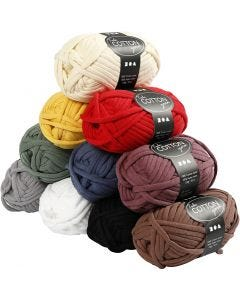 Cotton tube yarn, L: 45 m, assorted colours, 10x100 g/ 1 pack