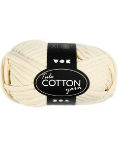 Cotton tube yarn, L: 45 m, off-white, 100 g/ 1 ball