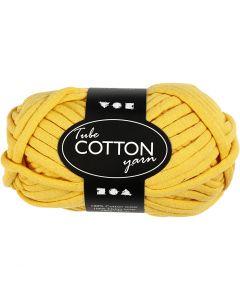 Cotton tube yarn, L: 45 m, yellow, 100 g/ 1 ball