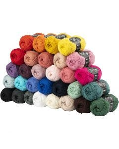 Cotton Yarn, no. 8/4, L: 170 m, assorted colours, 30x50 g/ 1 pack