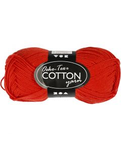 Cotton Yarn, no. 8/4, L: 170 m, red, 50 g/ 1 ball