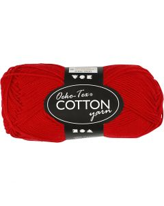 Cotton Yarn, no. 8/4, L: 170 m, dark red, 50 g/ 1 ball