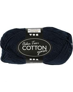 Cotton Yarn, no. 8/4, L: 170 m, dark blue, 50 g/ 1 ball