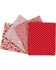 Patchwork Fabric, size 45x55 cm, 100 g, red, 4 pc/ 1 pack
