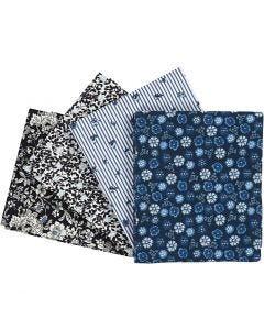 Patchwork Fabric, size 45x55 cm, 100 g, blue, 4 pc/ 1 pack