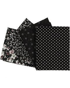 Patchwork Fabric, size 45x55 cm, 100 g, black, 4 pc/ 1 pack