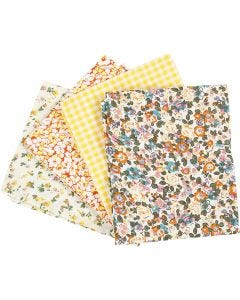 Patchwork fabric, size 45x55 cm, 100 g, yellow, 4 pc/ 1 bundle