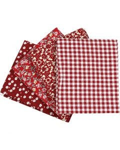 Patchwork fabric, size 45x55 cm, 100 g, red, 4 pc/ 1 bundle