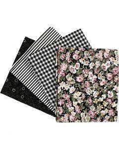 Patchwork fabric, size 45x55 cm, 100 g, black, 4 pc/ 1 bundle