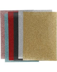 Iron on foil, 148x210 mm, glitter, assorted colours, 6 sheet/ 1 pack