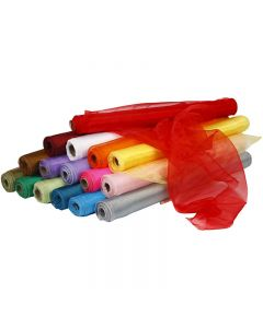 Organza Fabric, W: 50 cm, assorted colours, 16x6 roll/ 1 pack