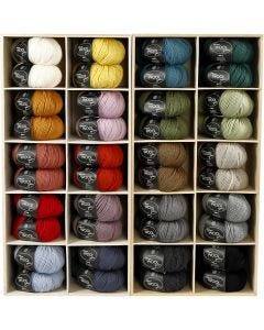 Wool yarn, L: 125 m, assorted colours, 20x10 ball/ 1 pack