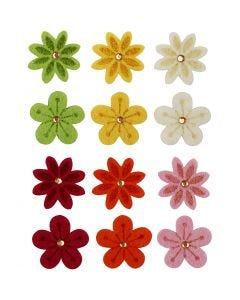 Felt Flowers, D: 30 mm, 120 pc/ 1 pack