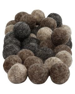 Felt balls, D: 20 mm, natural, 64 pc/ 1 pack
