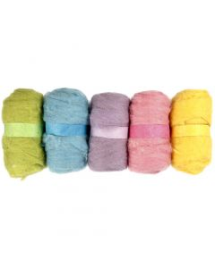 Carded Wool, pastel yellow, 5x100 g/ 1 pack